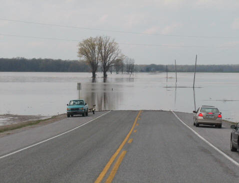 Flooding west of town